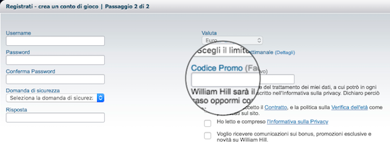 codice promo williamhill
