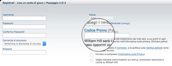 codice promo william hill