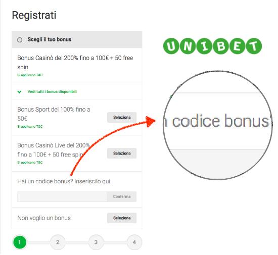 unibet codice bonus