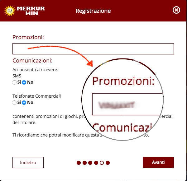 codice promozionale merkurwin
