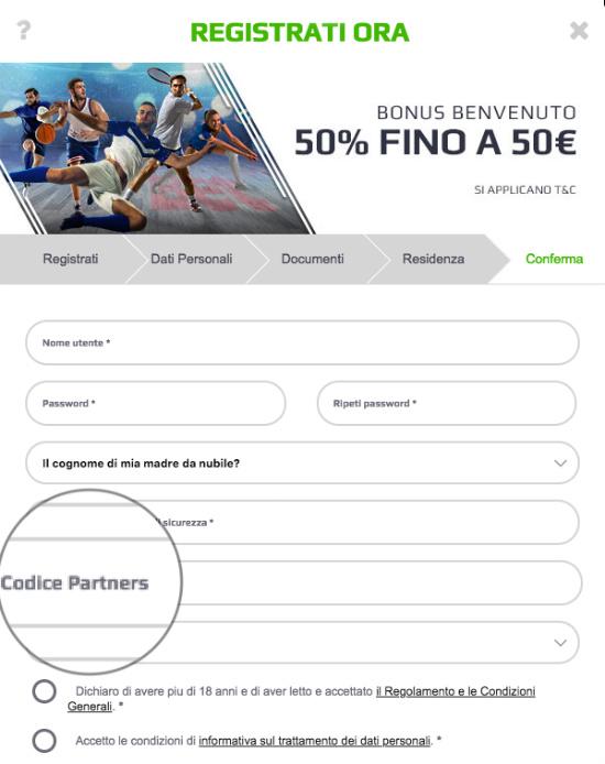 codice partners netbet 2018