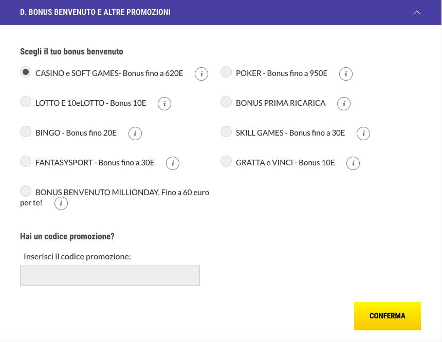 codice promozione lottomatica