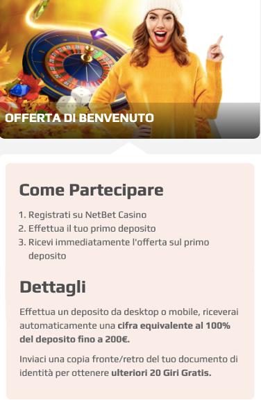 codice bonus netbet