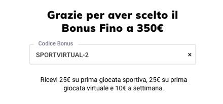 sisal codice bonus